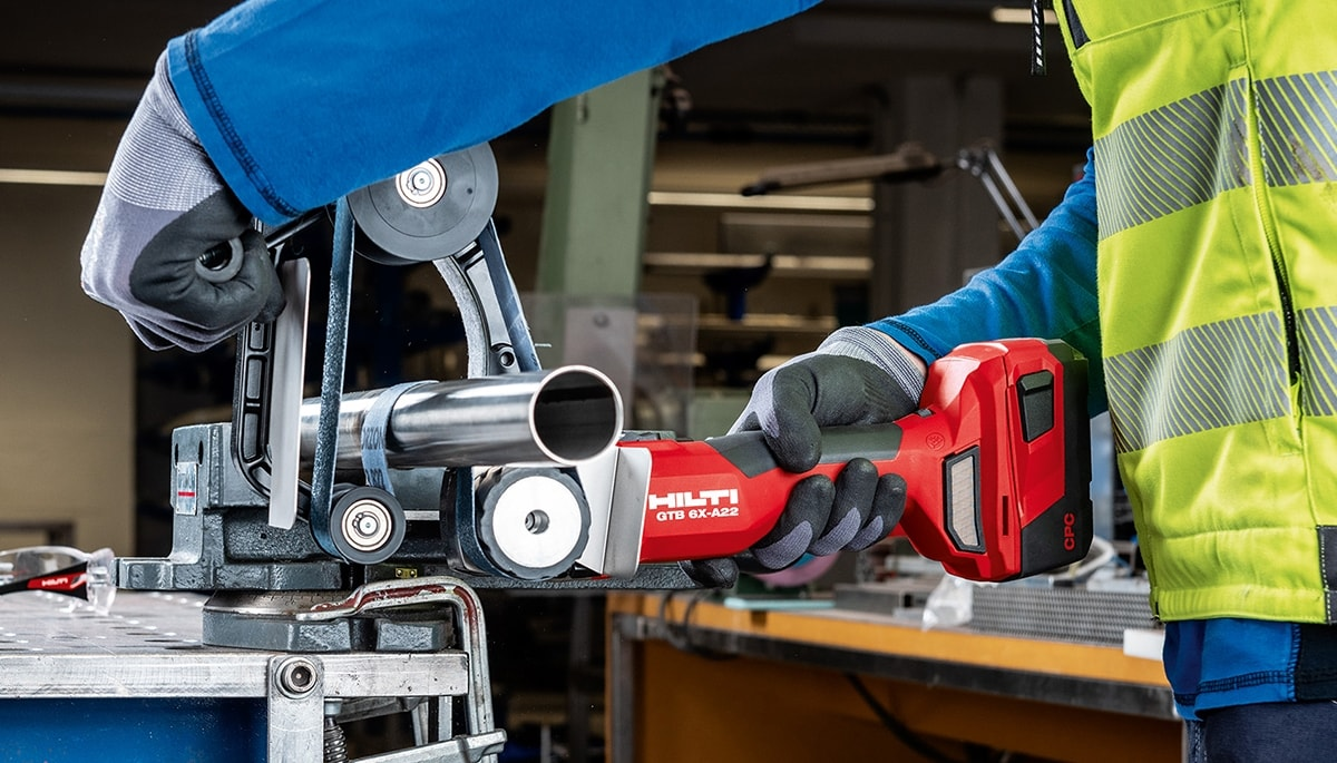 Introducing the GTB 6X-A22 cordless tube belt sander for metal fabrication
